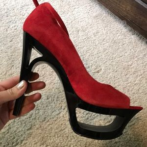 Sexy red suede heels with ankle strap